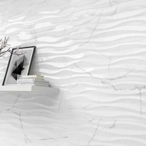 "SCULPTURE - 13"" X 36"" 'Waved' Wall Glazed Porcelain/Ceramic Wall Tile by Emser - Tile by Emser Tile"