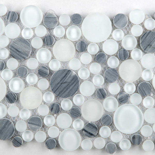 Lucente Glass Stone Circle Blends Glass Wall Tile Mosaic Tile B The Flooring Factory