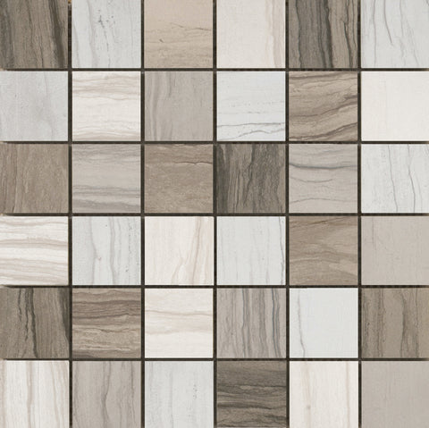 "MOTION - 2"" x 2"" on 13""x 13"" Mosaic Mesh Glazed Body Match Porcelain Tile by Emser - The Flooring Factory"
