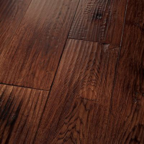 "Hickory Carbonera Smoked Red Saddle - Amish Hand-Scraped Smoked Collection - 7"" Engineered Hardwood Flooring by HomerWood"