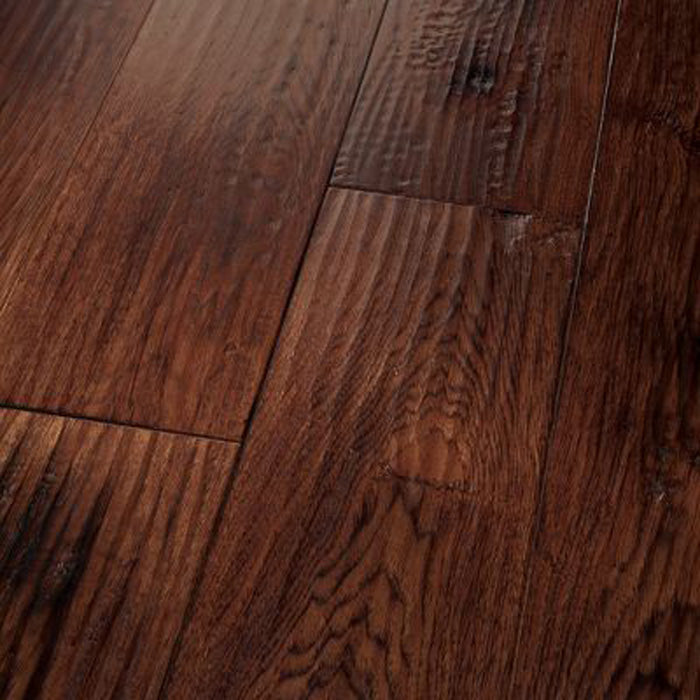 "Hickory Carbonera Smoked Red Saddle - Amish Hand-Scraped Smoked Collection - 8"" Engineered Hardwood Flooring by HomerWood - Hardwood by HomerWood"