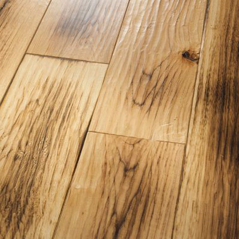 "Hickory Schenna Smoked Natural - Amish Hand-Scraped Smoked Collection - 7"" Engineered Hardwood Flooring by HomerWood"