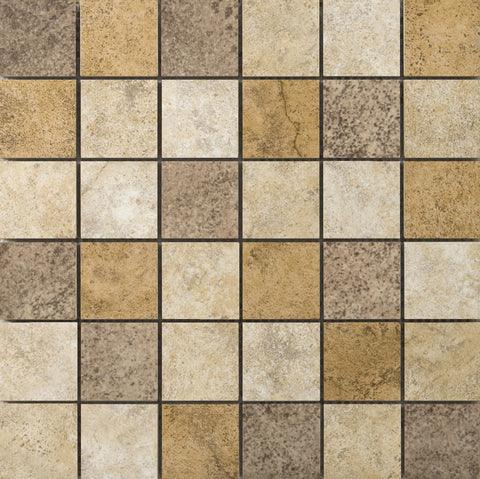 "TOLEDO - 2""X2"" on 13"" X 13"" Mesh Mosaic Glazed Ceramic Tile by Emser"