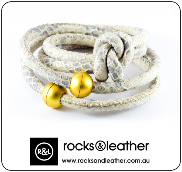 Rocks & Leather Cream Blue Snake Cuff Bracelet with Gold Matt Clasp