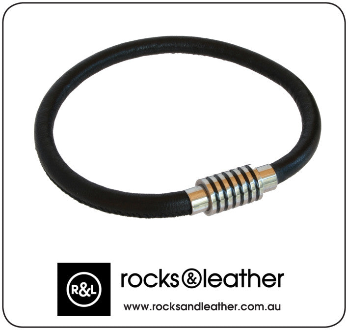 Rocks & Leather Mens Black Leather Bracelet with Polished Detailed Clasp