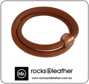 Rocks & Leather Brown Twice Round Bracelet with Copper Clasp