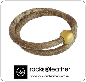 Rocks & Leather Earth Dust Round Bracelet with Gold Clasp