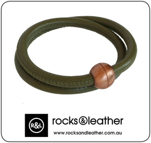 Rocks & Leather Olive Green Round Bracelet with Copper Clasp
