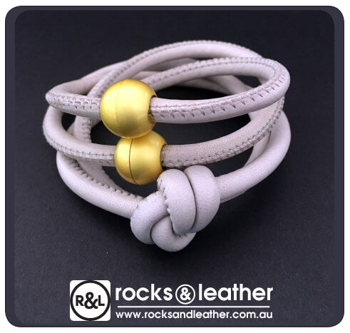Rocks & Leather Grey Cuff with Matt Gold Clasp