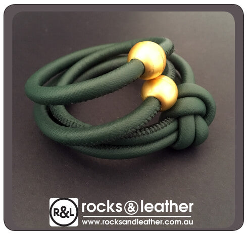 Rocks & Leather Petrol Green Cuff with Matt Gold Clasp