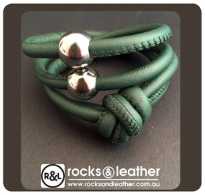 Rocks & Leather Petrol Green Cuff with Polished Silver Clasp
