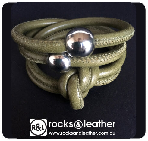 Rocks & Leather Olive Green Cuff Bracelet with Silver Clasp