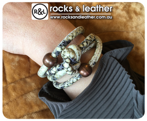 Rocks & Leather Liquorice Cuff with Copper Clasp