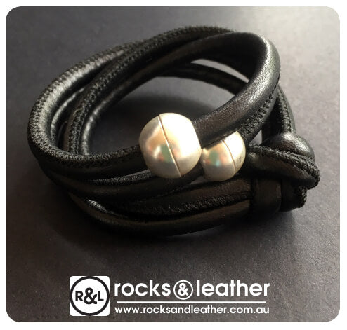 Rocks & Leather Black Cuff with Matt Silver Clasp