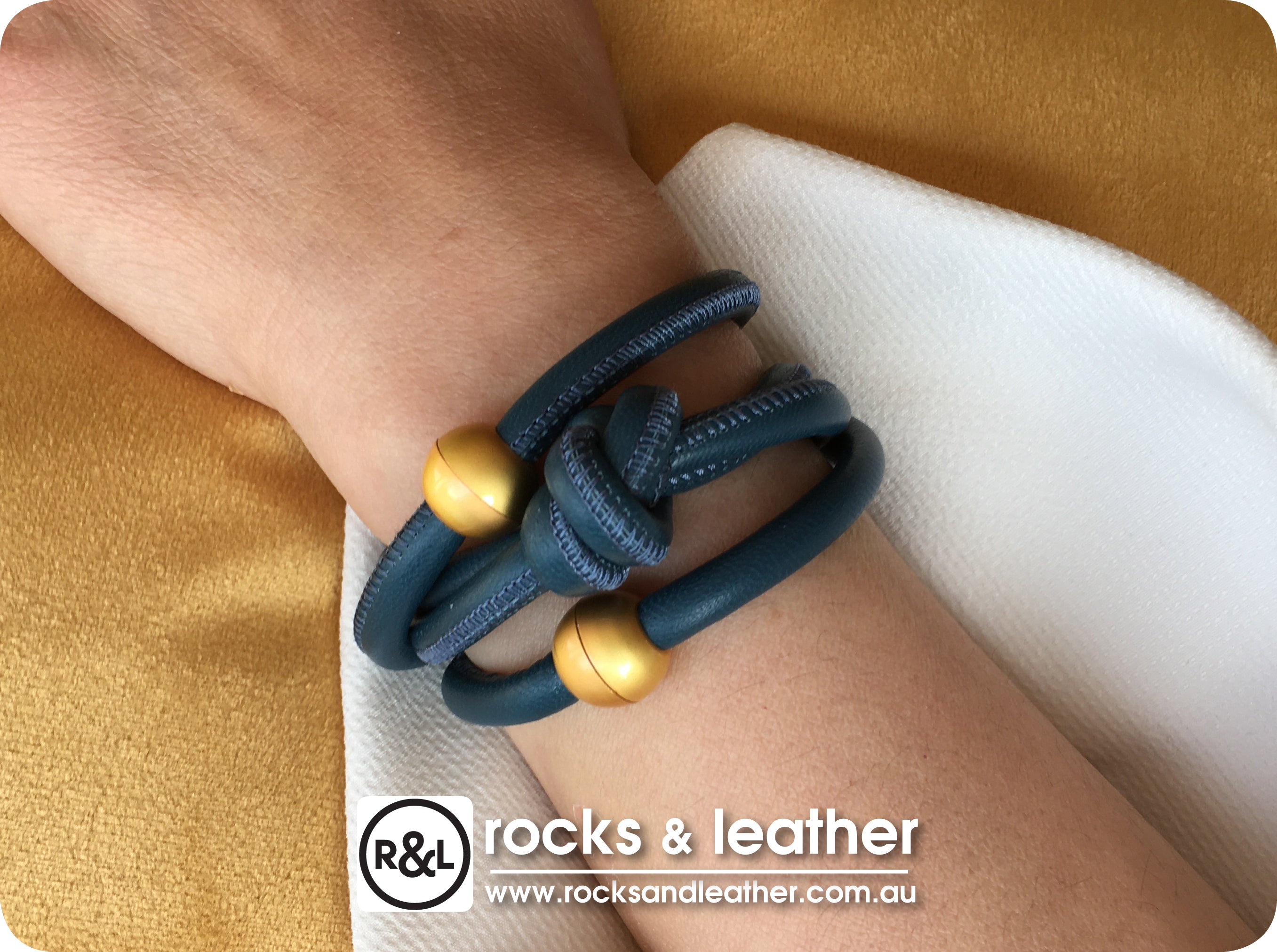 Rocks & Leather Denim Blue Cuff with Matt Gold Clasp