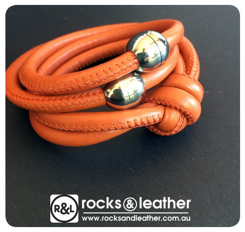 Rocks & Leather Tangerine Cuff with Polished Silver Clasp