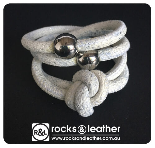 Rocks & Leather Ivory Cuff with Silver Clasp