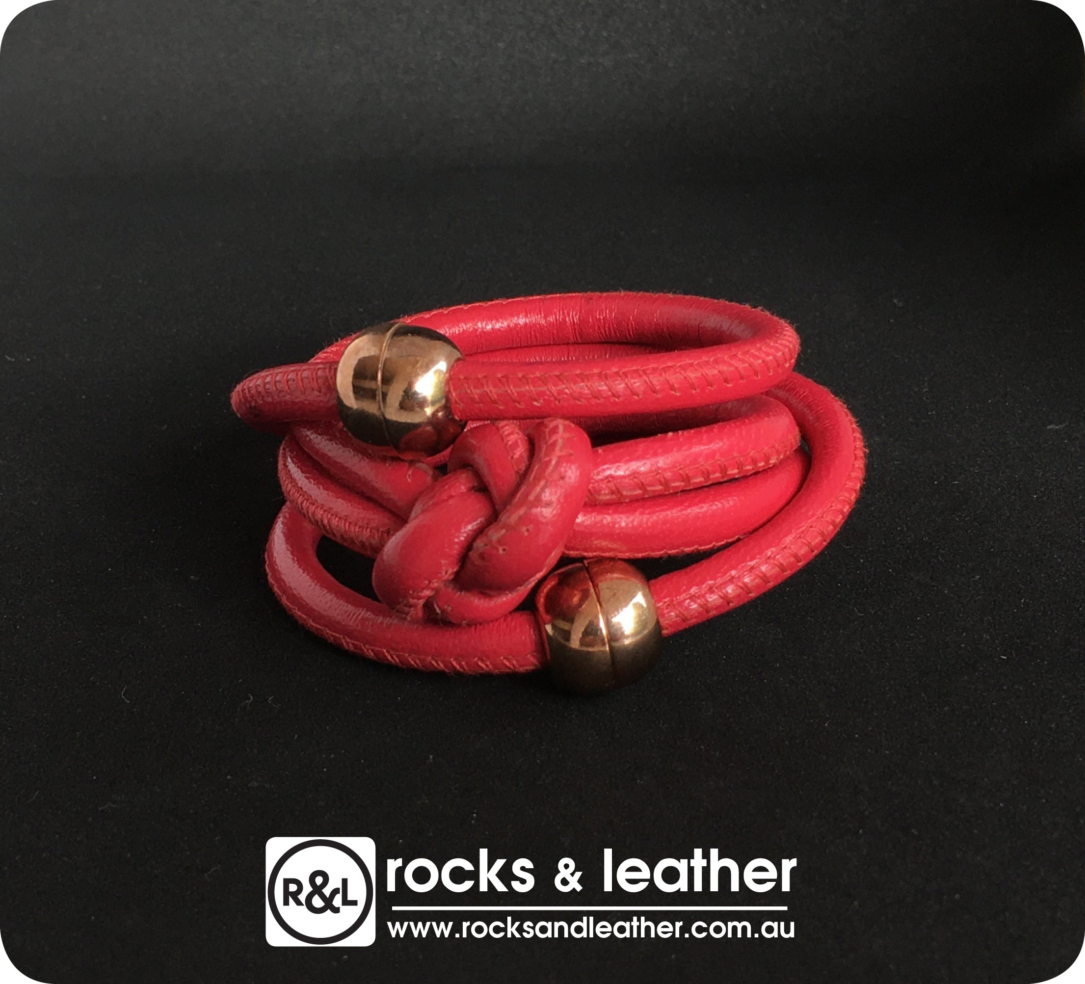 Rocks & Leather Dark Pink Cuff with Rose Gold Clasp