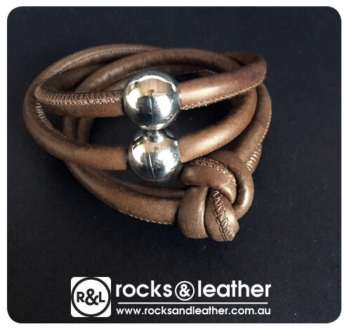 Rocks & Leather Brown Cuff with Silver Clasp