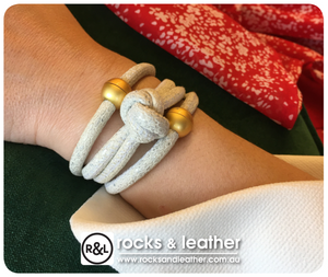 Rocks & Leather Ivory Shimmer Cuff with Matt Gold Clasp