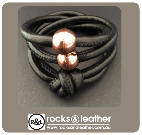 Rocks & Leather Black Cuff with Copper Clasp