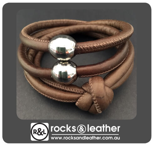 Rocks & Leather Brown Cuff with Polished Silver Clasp