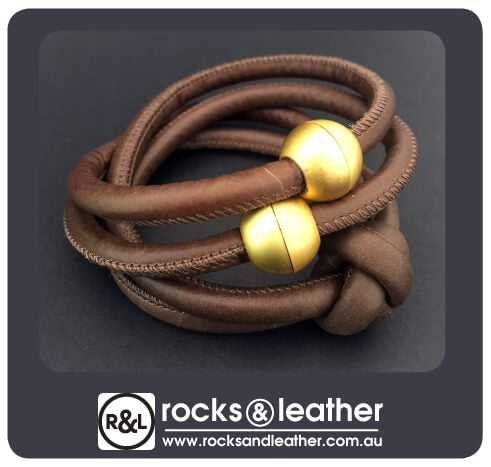 Rocks & Leather Brown Cuff with Matt Gold Clasp