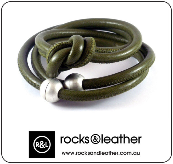 Rocks & Leather Olive Green Cuff Bracelet with Silver Matt Clasp