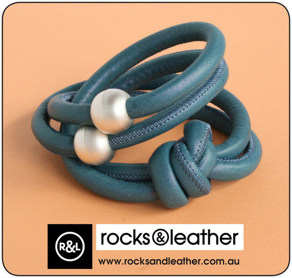 Rocks & Leather Blue Denim Cuff Bracelet with Silver Matt Clasp