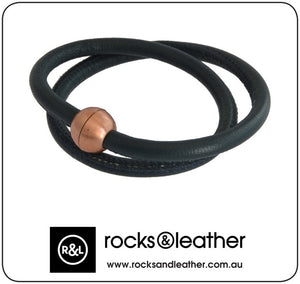 Rocks & Leather Navy Blue Twice Round Leather Bracelet with Copper Clasp