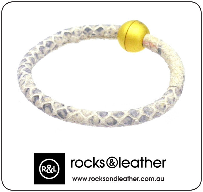 Rocks & Leather Bangle & Magnetic Clasp - Sand Stone