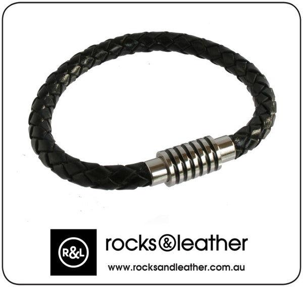 Rocks & Leather Braided Black Mens Leather Bracelet with Polished Silver Clasp