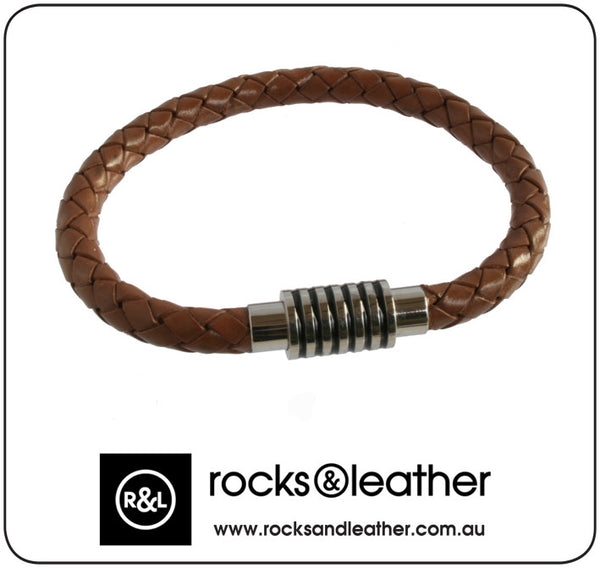 Rocks & Leather Braided Brown Mens Bracelet with Polished Detailed Clasp