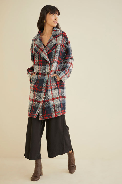 XS / Navy Red Plaid