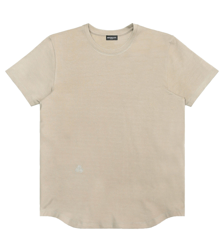 Heavyweight Curve Hem Tee - Tan