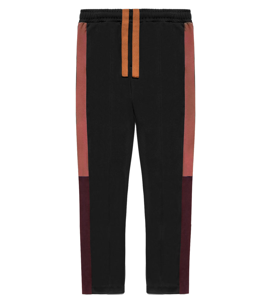Color Block Track Trousers - Black/Marsala