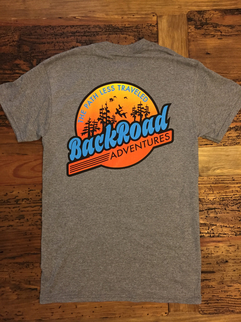 """Back Road Adventures Swamp Patch"" Short Sleeve Tee - Sunrise"