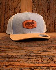 """The Woodlands Collection - The Griz"" Leather Patch Hat - Multiple Colors"
