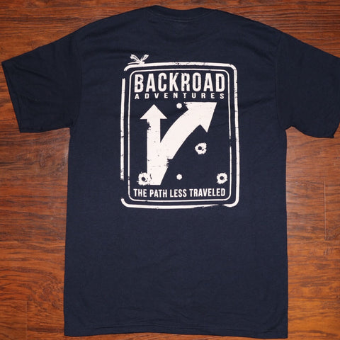 """Back Road Adventures Street Sign"" Short Sleeve Pocket Tee"