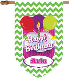 Personalized Chevron Lime Green Birthday House Flag