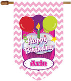 Chevron Light Pink Birthday House Flag