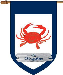 Personalized Crab House Flag with Blue Border