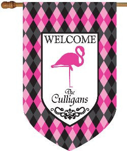 Personalized Flamingo Welcome House Flag-Argyle