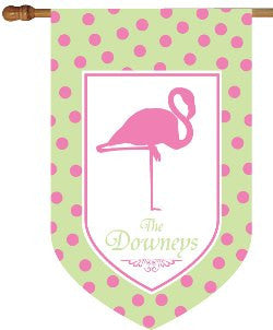 Personalized Flamingo House Flag in Green and Pink