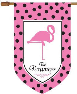 Personalized Flamingo House Flag Pink and Black