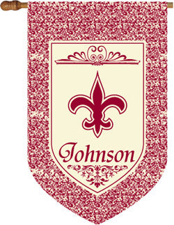 Personalized Burgundy Fluer De Lis House Flag