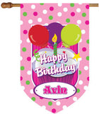 Personalized Happy Birthday Pink Polka Dots House Flag