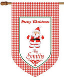 Personalized Houndstooth Santa House Flag