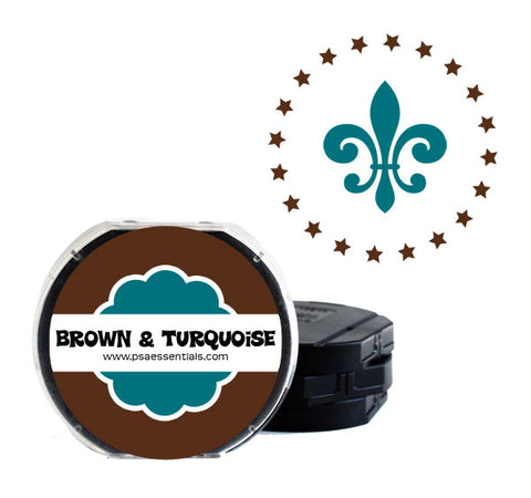 Brown and Turquoise Self-Inking Stamp Cartridge Refill