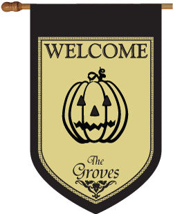 Personalized Jack-o-Lantern House Flag